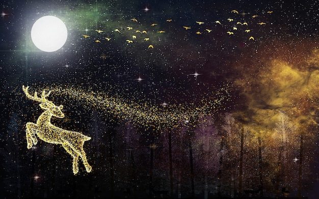 Tapete mit dunklem galaxiehintergrund. goldener hirsch und goldene vögel mit mond und baumwald