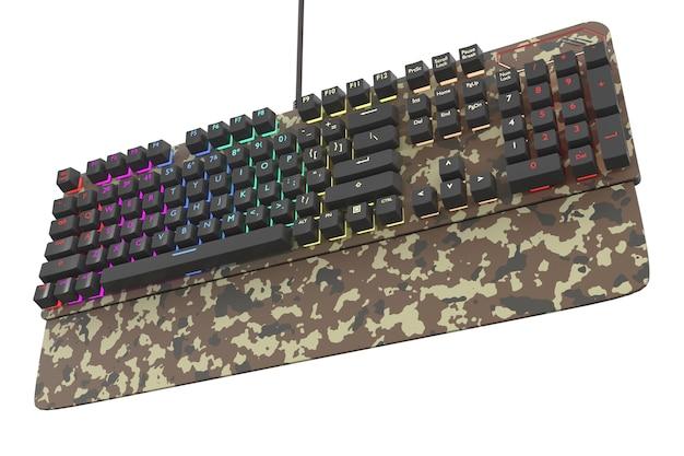 Tarnfarbene computertastatur mit rgb-farbe isoliert auf weiß