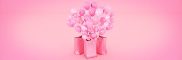 Tasche und ballons 3d-rendering