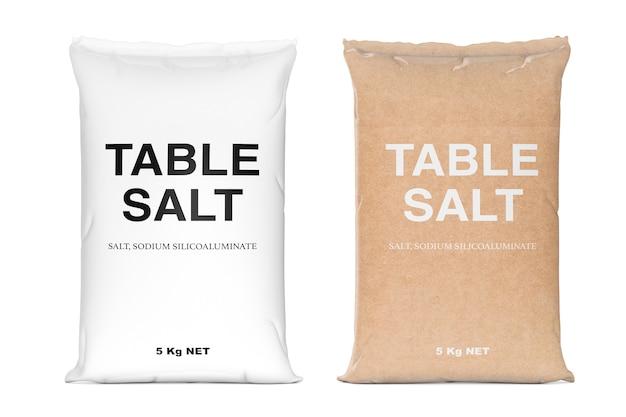 Taschen mit tafelsalz auf weißem hintergrund. 3d-rendering