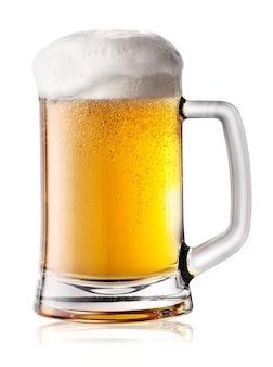 Tasse bier mit dickem schaum