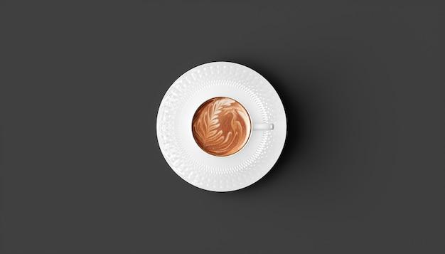 Tasse kaffee auf einer schwarzen hintergrundnahaufnahme, 3d illustration