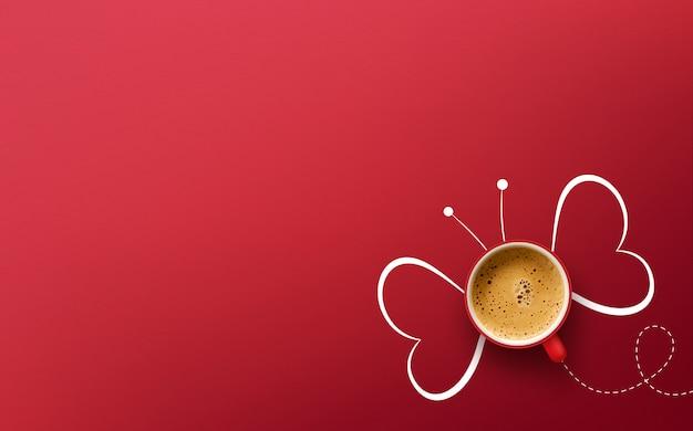 Tasse kaffee auf rotem hintergrund