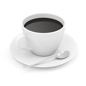 Tasse kaffee auf untertasse mit löffel
