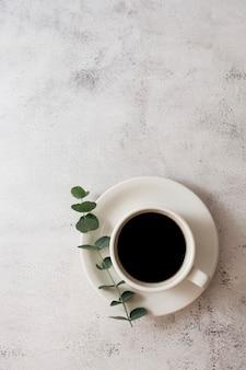 Tasse kaffee, eukalyptuszweig. draufsicht