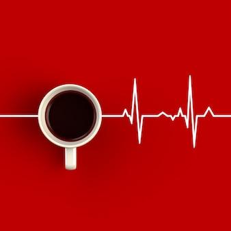 Tasse kaffee in form von herzrhythmus