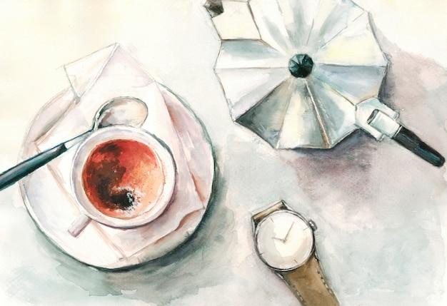Tasse kaffee kaffeemaschine uhr auf dem tisch