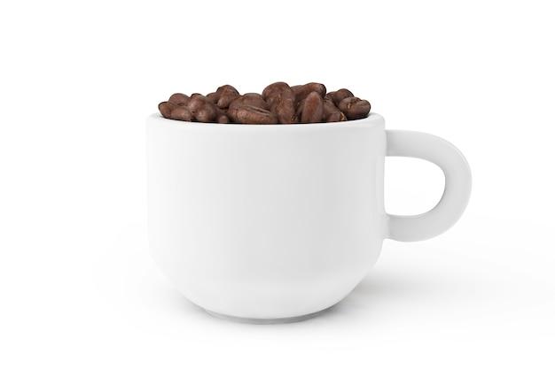 Tasse kaffee mit kaffeebohne im inneren auf weißem hintergrund