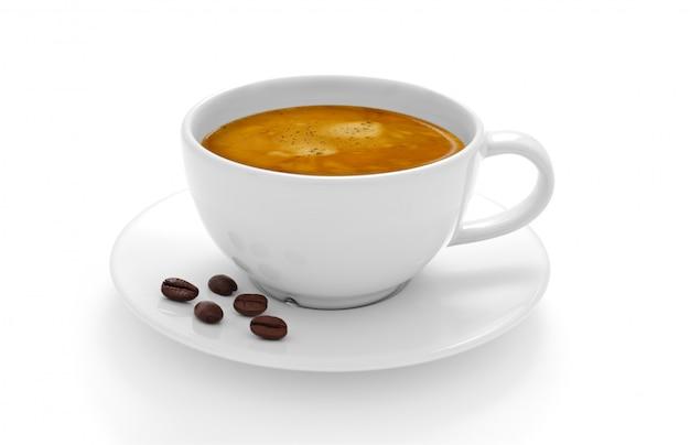 Tasse kaffee mit kaffeebohnen lokalisiert auf weißem hintergrund