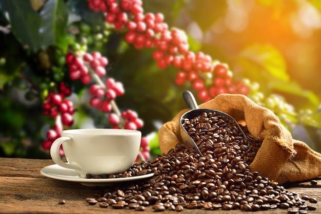Tasse kaffee mit rauch und kaffeebohnen im leinensack