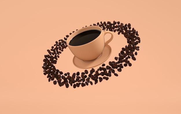 Tasse kaffee und realistische kaffeebohnen, 3d-rendering-hintergrund