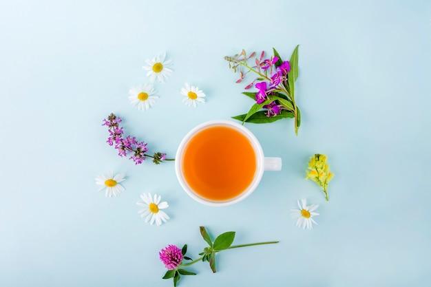 Tasse kräutertee mit blumen kamille auf blauem hintergrund. bio-blumiger, grüner asiatischer tee. kräutermedizin bei saisonalen krankheiten und behandlung von erkältungen, grippe, hitze. kopieren sie platz für text.