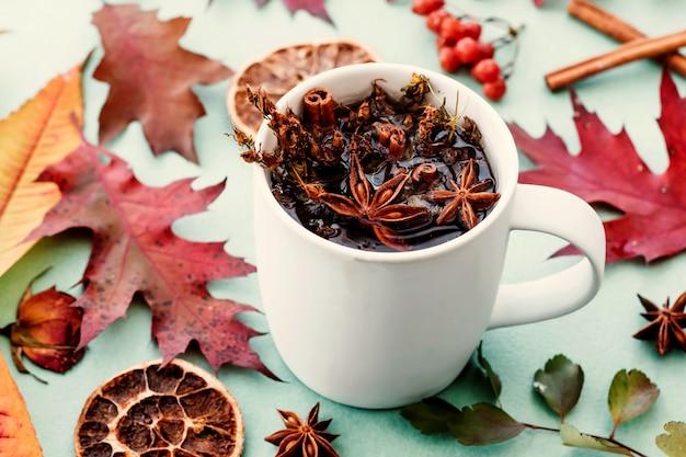 Tasse kräutertee mit zimt und sternanis