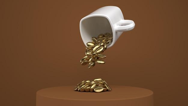 Tasse mit goldenen kaffeebohnen