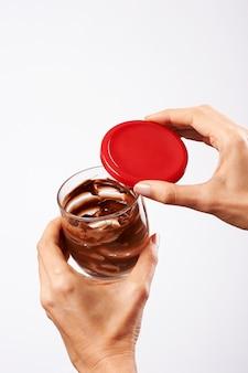 Tasse, schokolade, hände