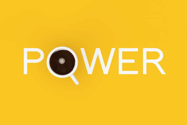 Tasse schwarzen kaffee als power-zeichen auf gelbem grund. 3d-rendering