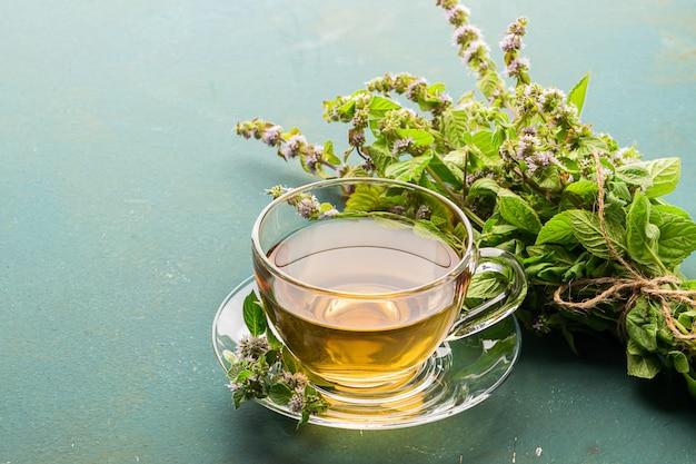 Tasse tee getränk mit frischen blättern der pfefferminzmelisse