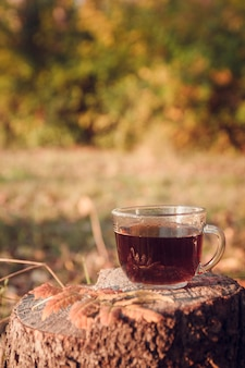 Tasse tee mit herbstlaub