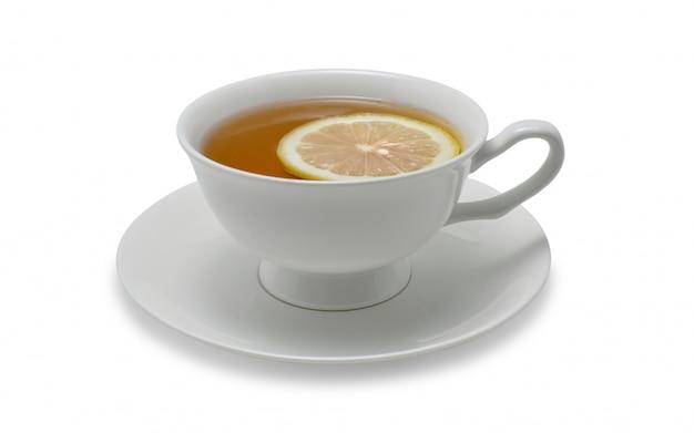 Tasse tee mit zitrone lokalisiert auf weißem hintergrund