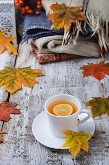 Tasse tee und warme kleidung.