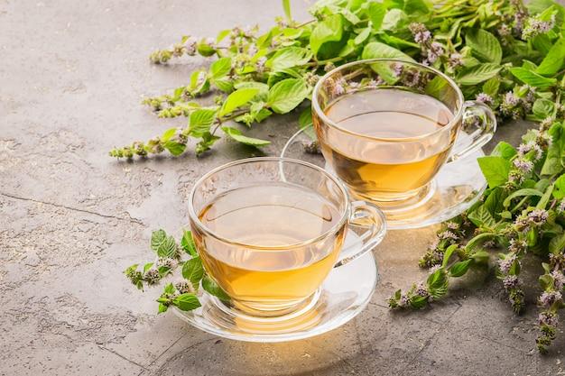 Tassen tee mit frischen blättern