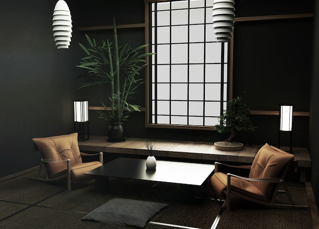 Tatami-matten und fensteransicht-waldbäume auf japanischer zenart des raumes wiedergabe 3d
