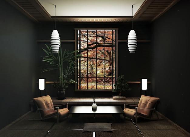 Tatami-matten und fensteransichtwaldbäume auf japanischer zenart des raumes