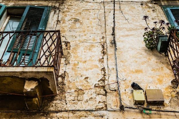 Taube hockte auf der wand eines alten verlassenen hauses in einer italienischen stadt.