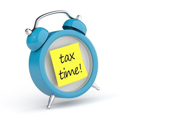Tax time post-it und wecker. 3d-rendering