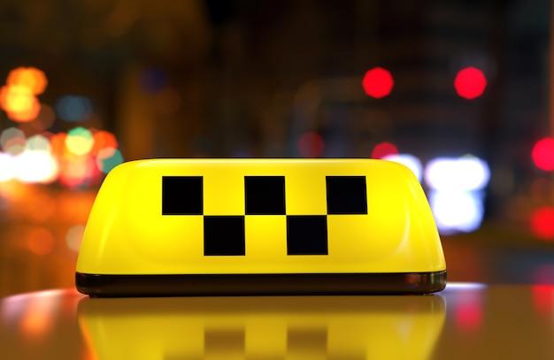 Taxi schild mit kontrolleur