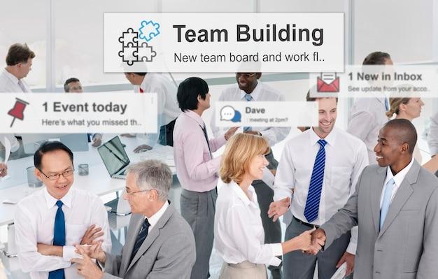 Team building zusammenarbeit verbindung corporate teamwork konzept