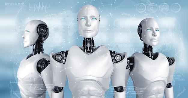 Team humanoider ki-roboter, der das konzept der teamarbeit und zusammenarbeit zeigt