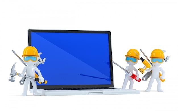 Team von bauarbeitern mit leerem screnn-laptop. isoliert. enthält einen beschneidungspfad