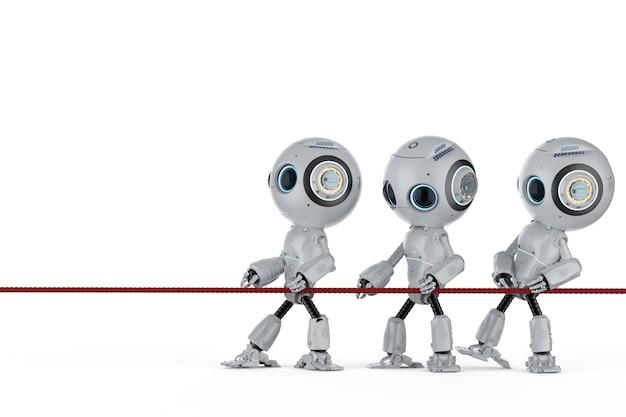 Teamwork-konzept mit 3d-rendering-miniroboter in einem tauziehen