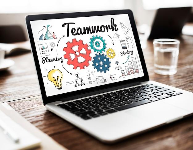 Teamwork team collaboration connection togetherness einheitskonzept