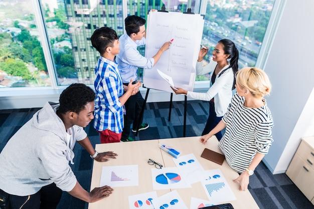 Tech-start-up-team diskutiert produkt-roadmap