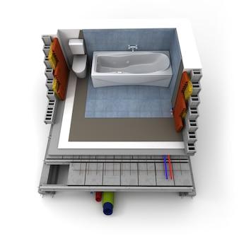 Technische details einer badezimmerkonstruktion