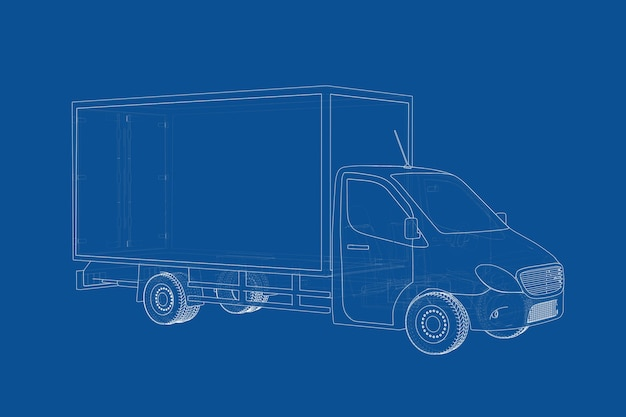 Technische illustration der wire-frame-stil kommerzielle industrie cargo lieferwagen blaupause auf blauem hintergrund. 3d-rendering