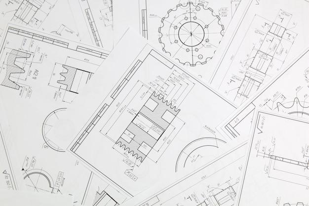 Technische zeichnungen von industrieteilen und -mechanismen aus papier