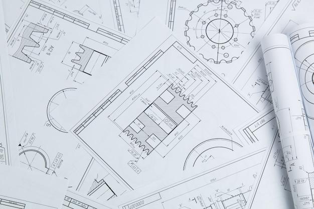 Technische zeichnungen von industrieteilen und -mechanismen