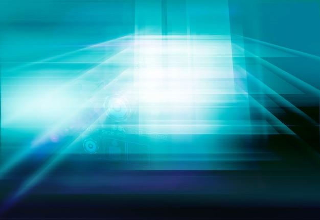 Technischer hintergrund des abstrakten hightech- raumes 3d digitaler flacher bildschirm