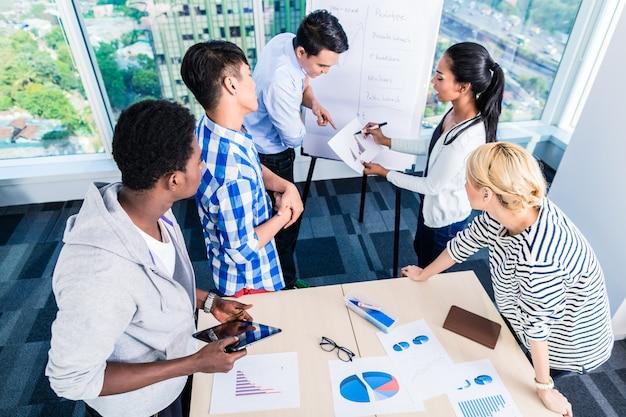 Technisches start-up-team, das die produkt-roadmap diskutiert