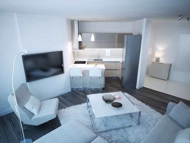 Techno lounge studio mit minimalistischer küche und elegantem eingang