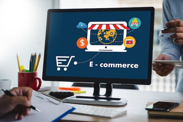 Technologie e-commerce internet global marketing einkaufsplan und bankkonzept