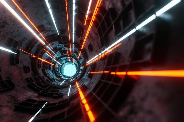 Technologie glühender plasmamotorröhrentunnel alien-raumschiffhintergrund 3d-rendering