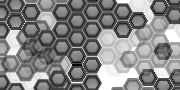 Technologie hintergrund hexagon abstrakte schwarz-weiß-3d-darstellung