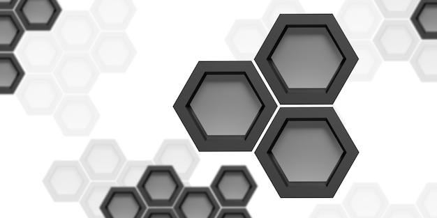 Technologie hintergrund hexagon abstrakte schwarz-weiß-3d-darstellung Premium Fotos