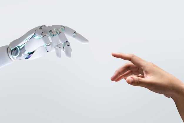 Technologie-hintergrund mit menschlicher note, modernes remake von the creation of adam