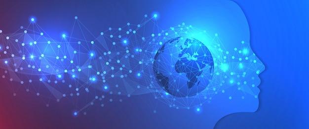Technologie-hintergrund-schablone der künstlichen intelligenz
