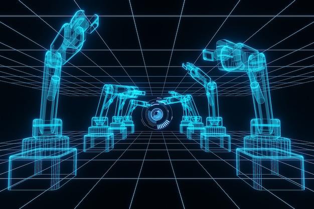 Technologie industrie 4.0-konzeptanimation roboterarm und hud-hologramm 3d-rendering